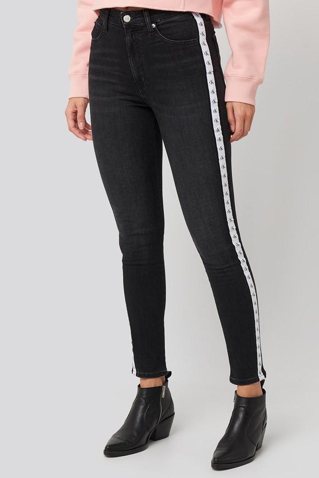 High Rise Skinny Ankle Denim Jeans Black/Black White Mono Tape