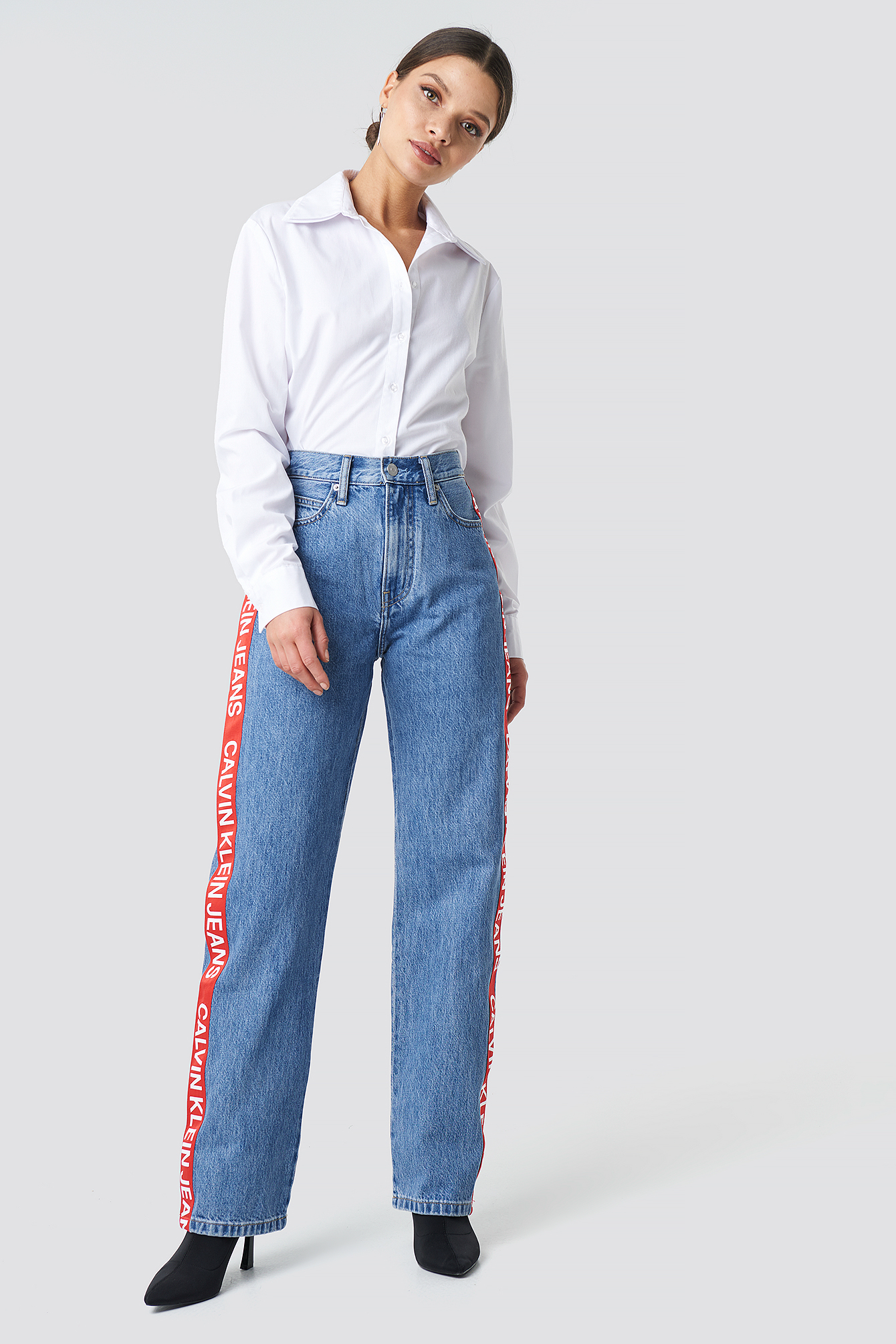 High Rise Straight Jeans NA-KD.COM