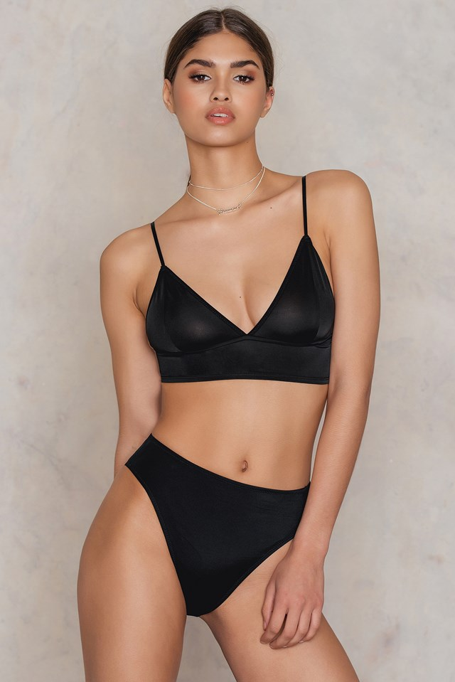 High Waist Bikini Bottom Black