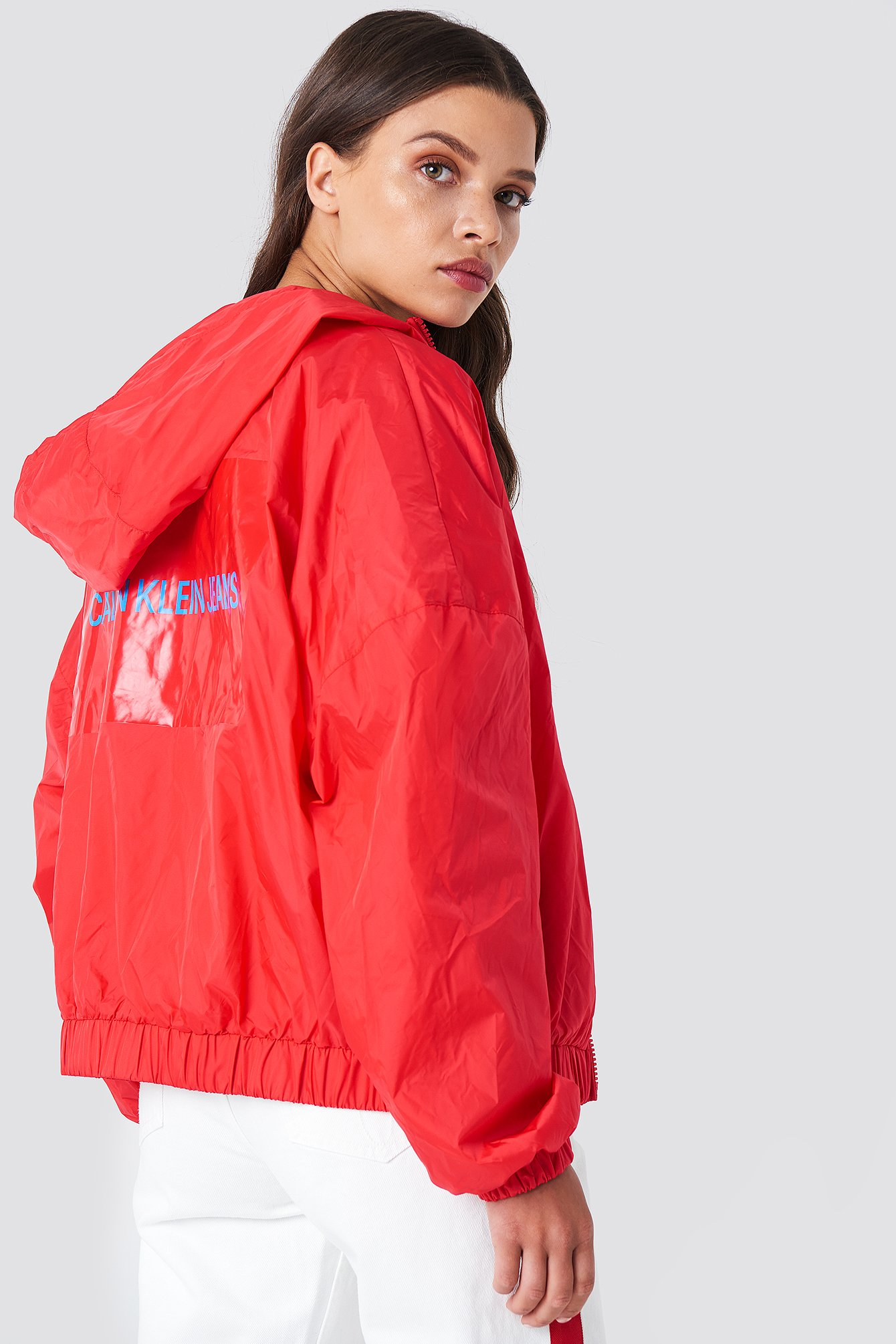 Hooded Zip Up Nylon Windbreaker NA-KD.COM