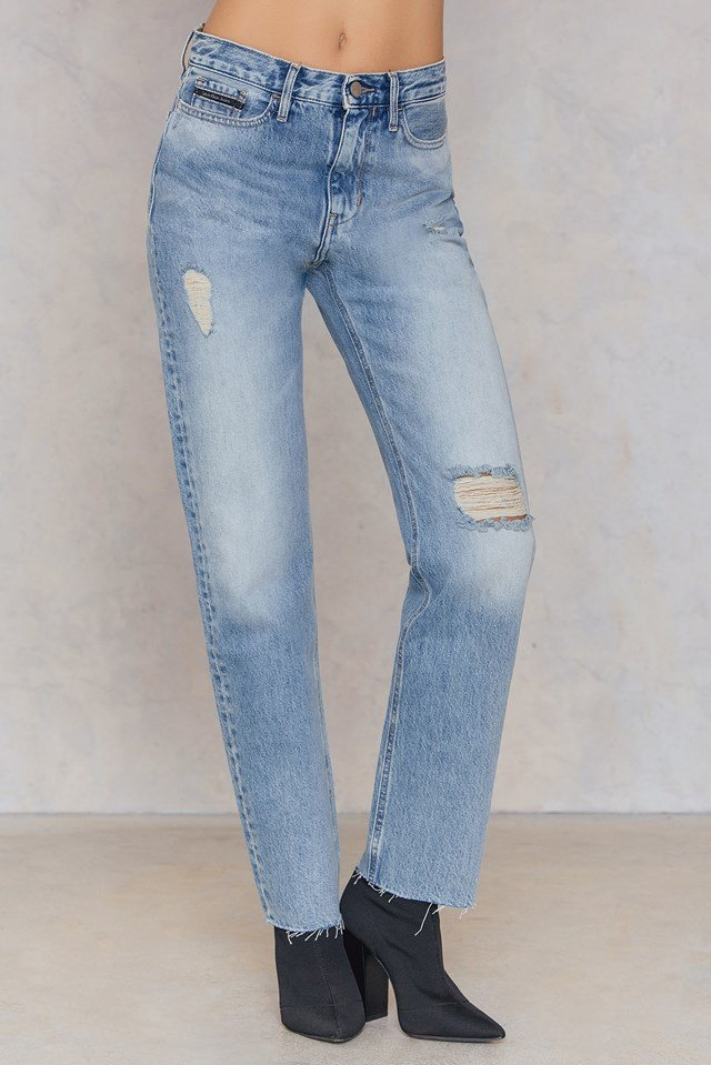 HR Straight Ankle Raw Jeans Tron Blue Destructed