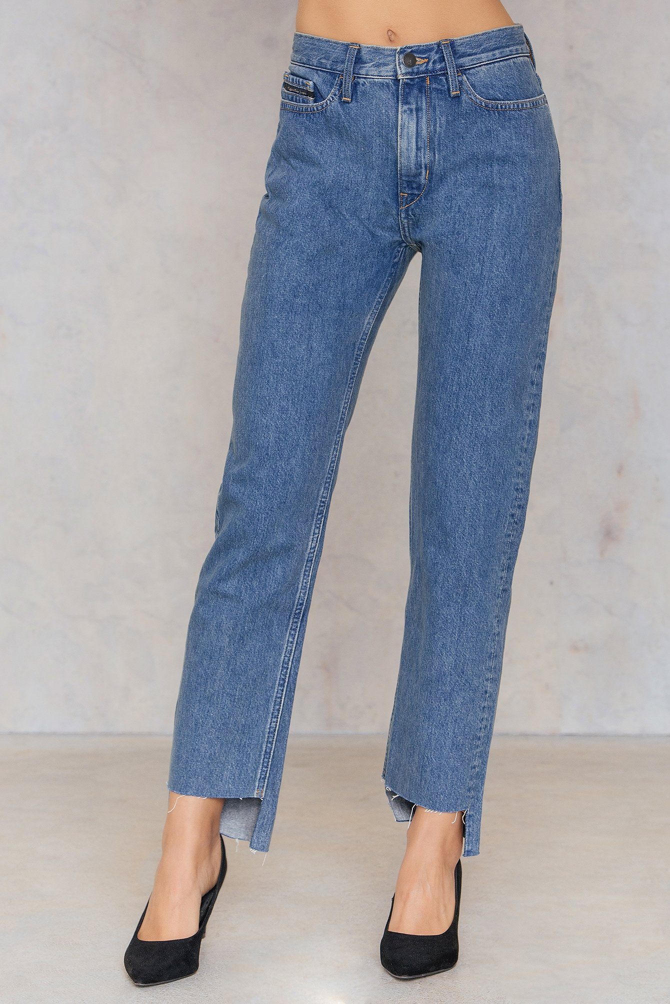 Rugged Blue HR Straight Ankle Step Jeans