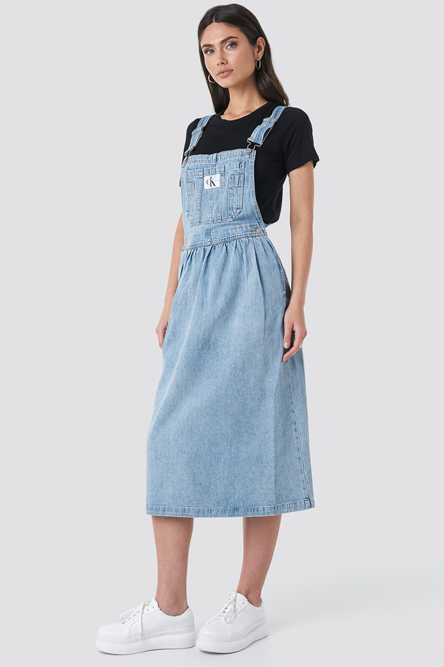Iconic Dungaree Dress Light Blue