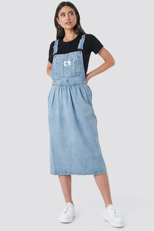 Iconic Dungaree Dress Light Blue