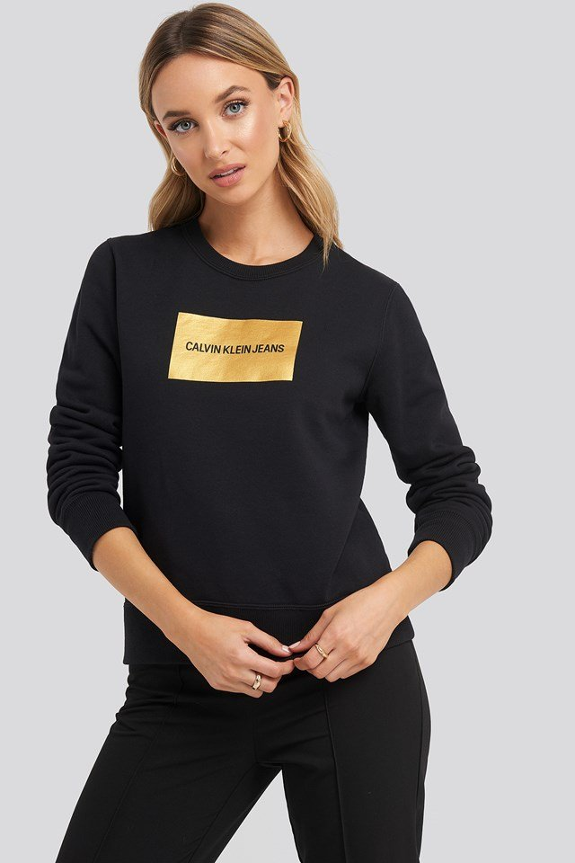 Institutional Gold Box Logo Sweater CK Black