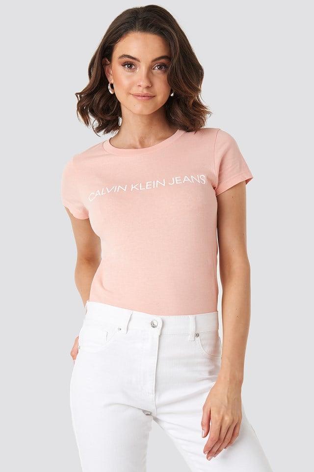 T-shirt Institutional Logo Slim Fit Blossom/Bright White