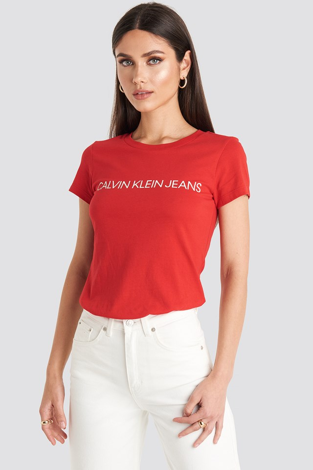 Institutional Logo Slim Fit Tee Barbados Cherry/Soothing Sea