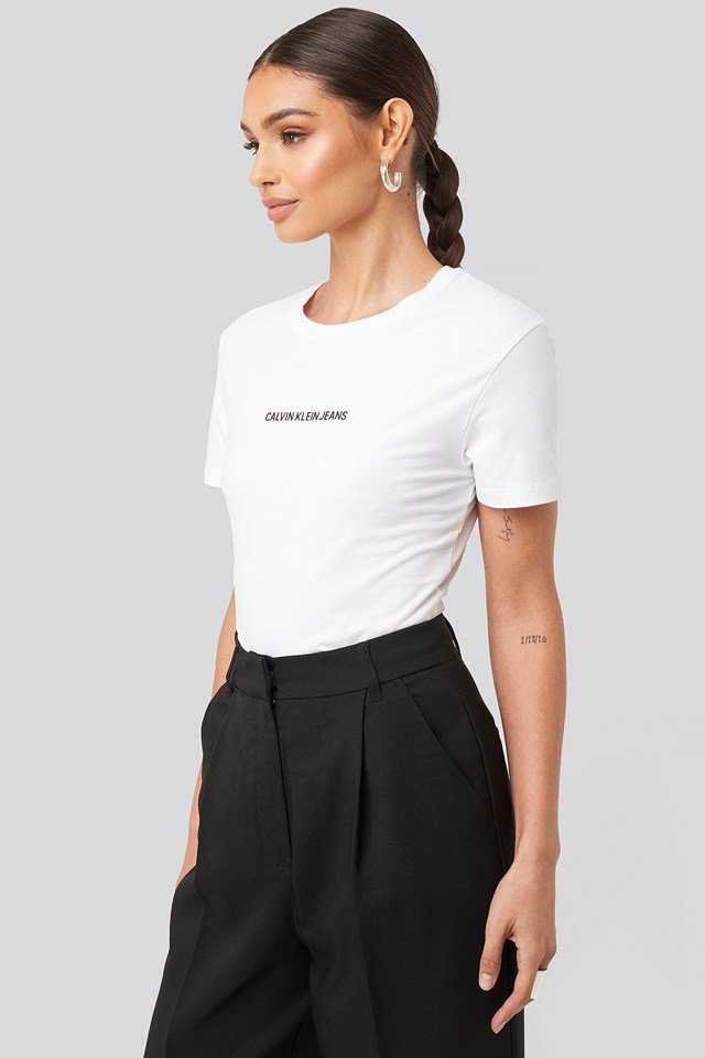 Institutional Logo Stretch Slim Tee Bright White