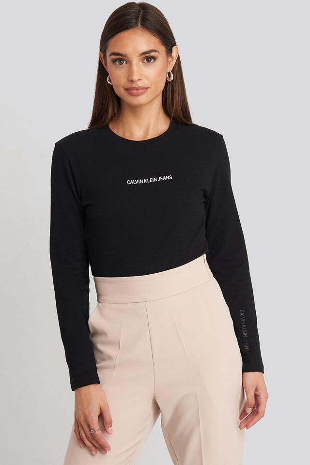 Institutional Logo Stretch Long Sleeve Top CK Black