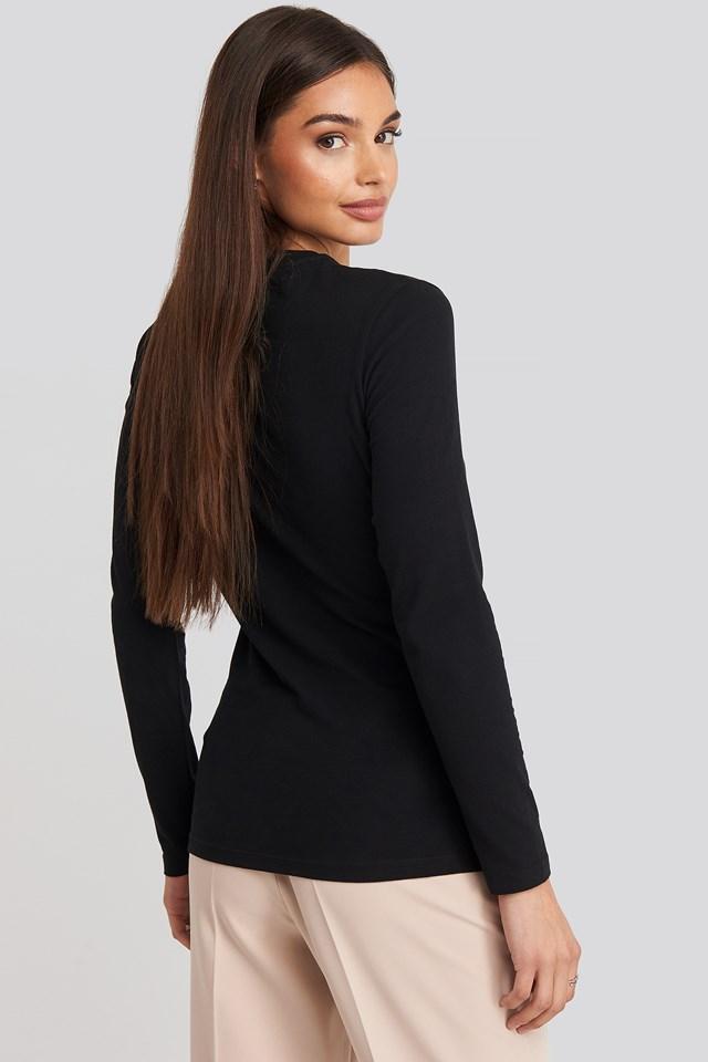 Institutional Logo Stretch Long Sleeve Top CK Black