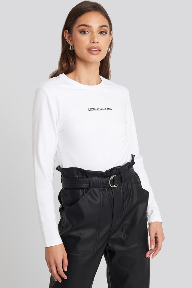 Institutional Logo Stretch Long Sleeve Top Bright White