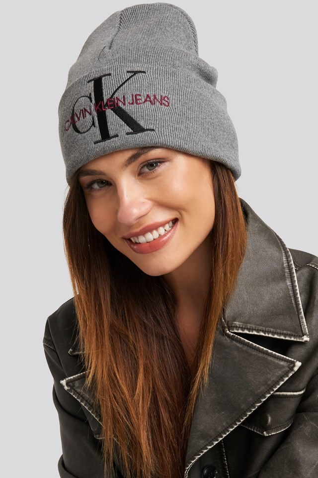 J Basic Women Knitted Beanie Hat Mid Grey Heather