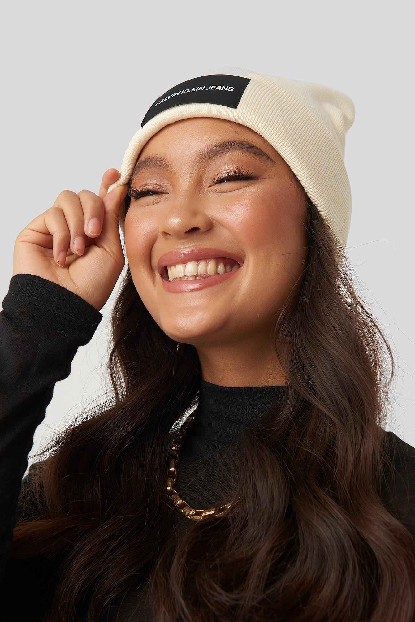 Calvin Klein J Institutional Beanie Hat - White In Winter White