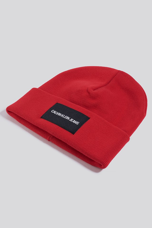J Institutional Beanie Hat Racing Red
