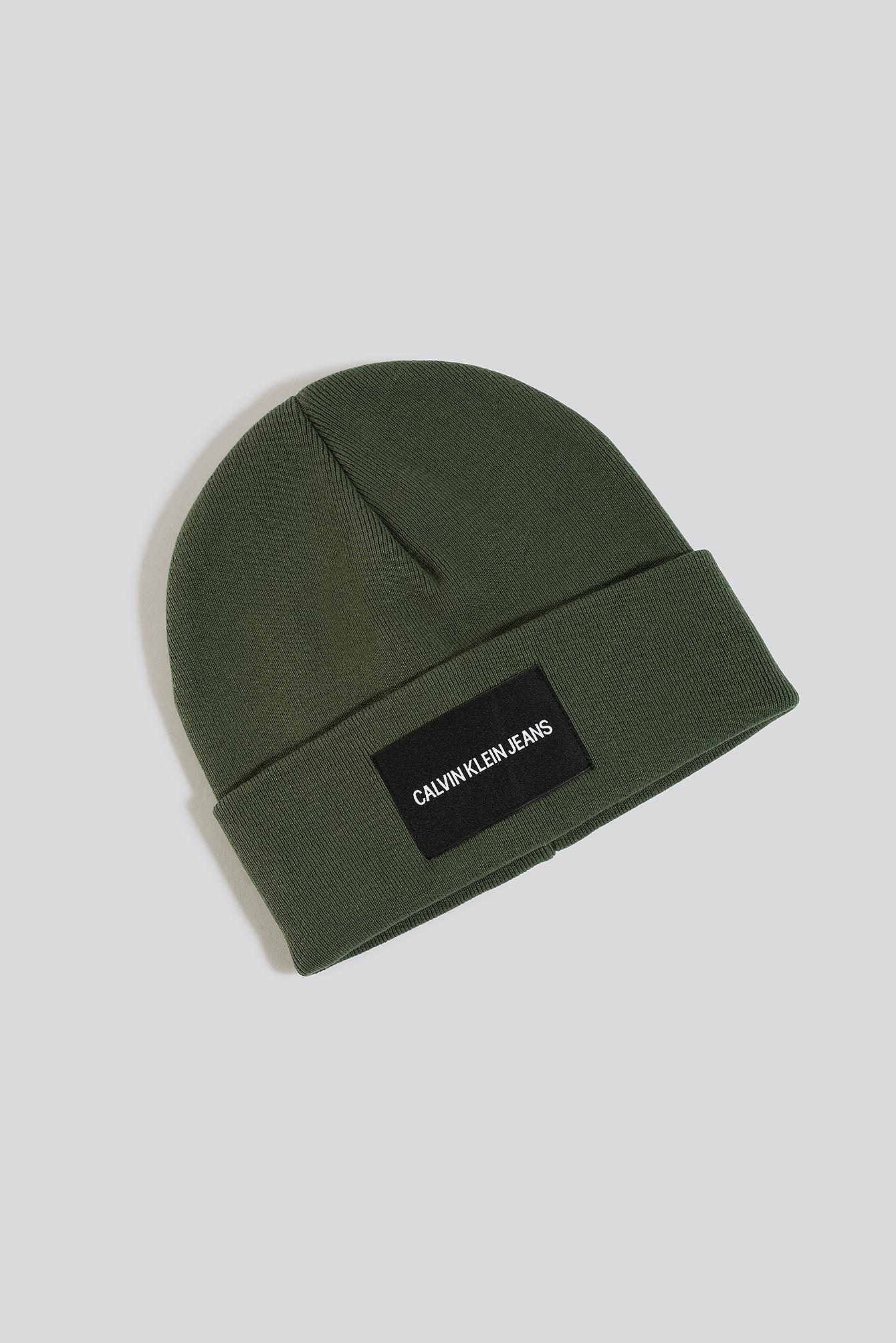 Calvin Klein J Institutional Beanie Hat - Green In Deep Depths
