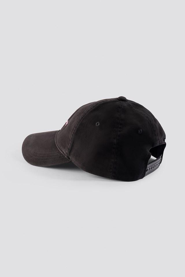 J Monogram Cap Black Beuty/Pink Embr