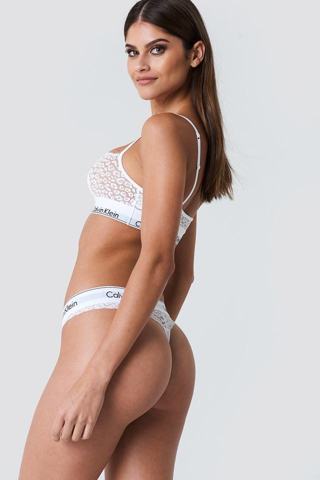 Lace Thong White