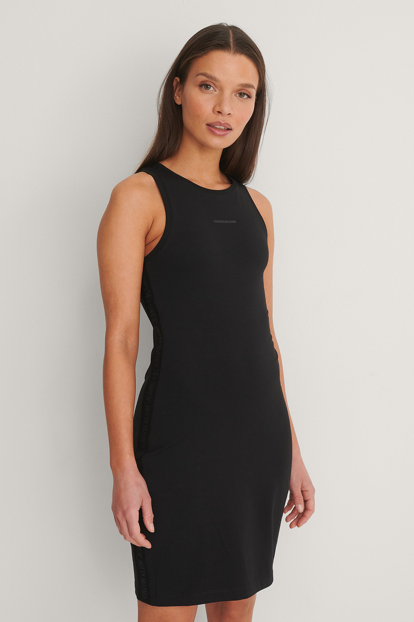 CK Black Logo Trim Racer Back Dress