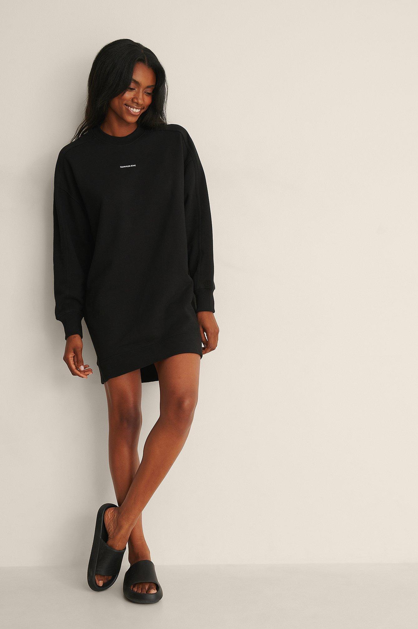 Calvin Klein Micro Branding Crew Neck Dress - Black