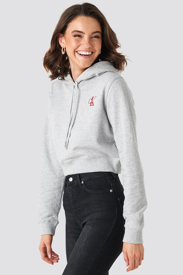 Monogram Embroidery Hoodie Light Grey/Barbados Cherry