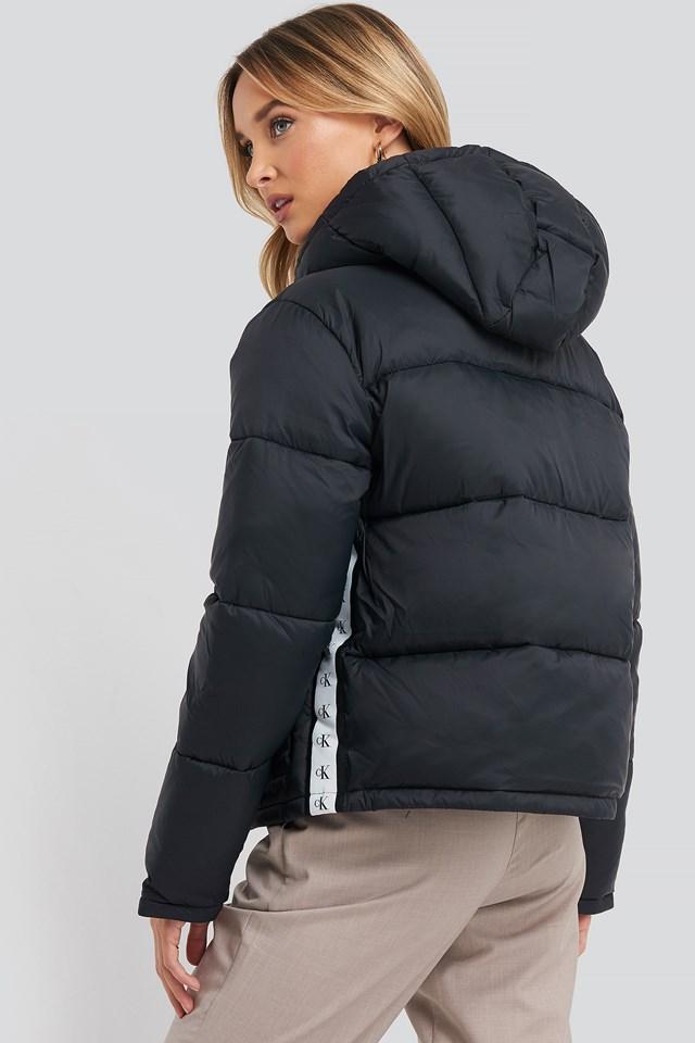 Monogram Tape Lw Puffer Jacket CK Black