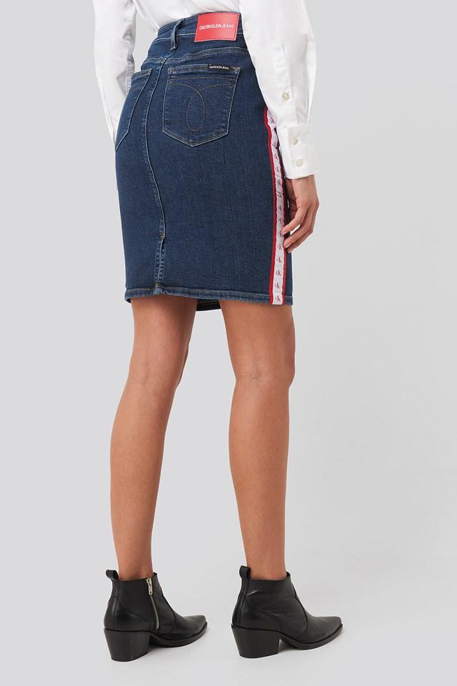 Pencil Skirt Blue/White/Red Mono Stripe
