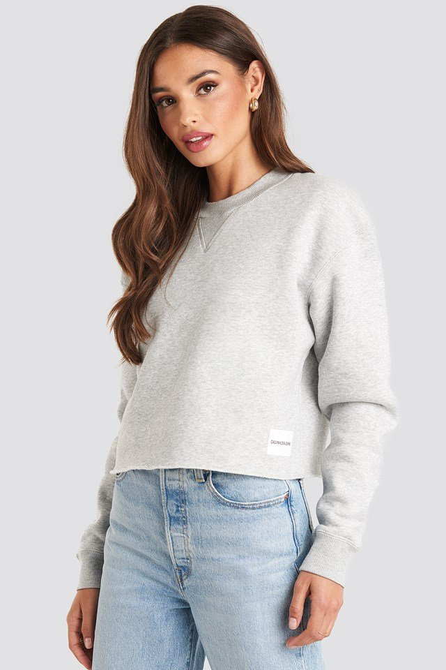 Raw Hem Crew Neck Light Grey Heather