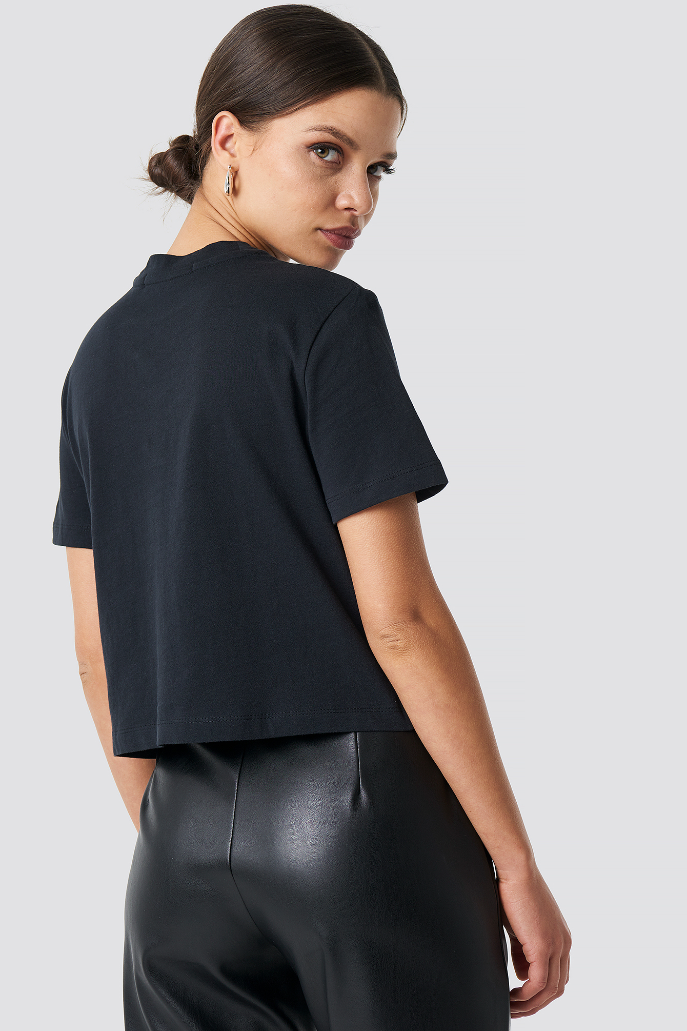 CK Black Shrunken Institutional Crop Tee