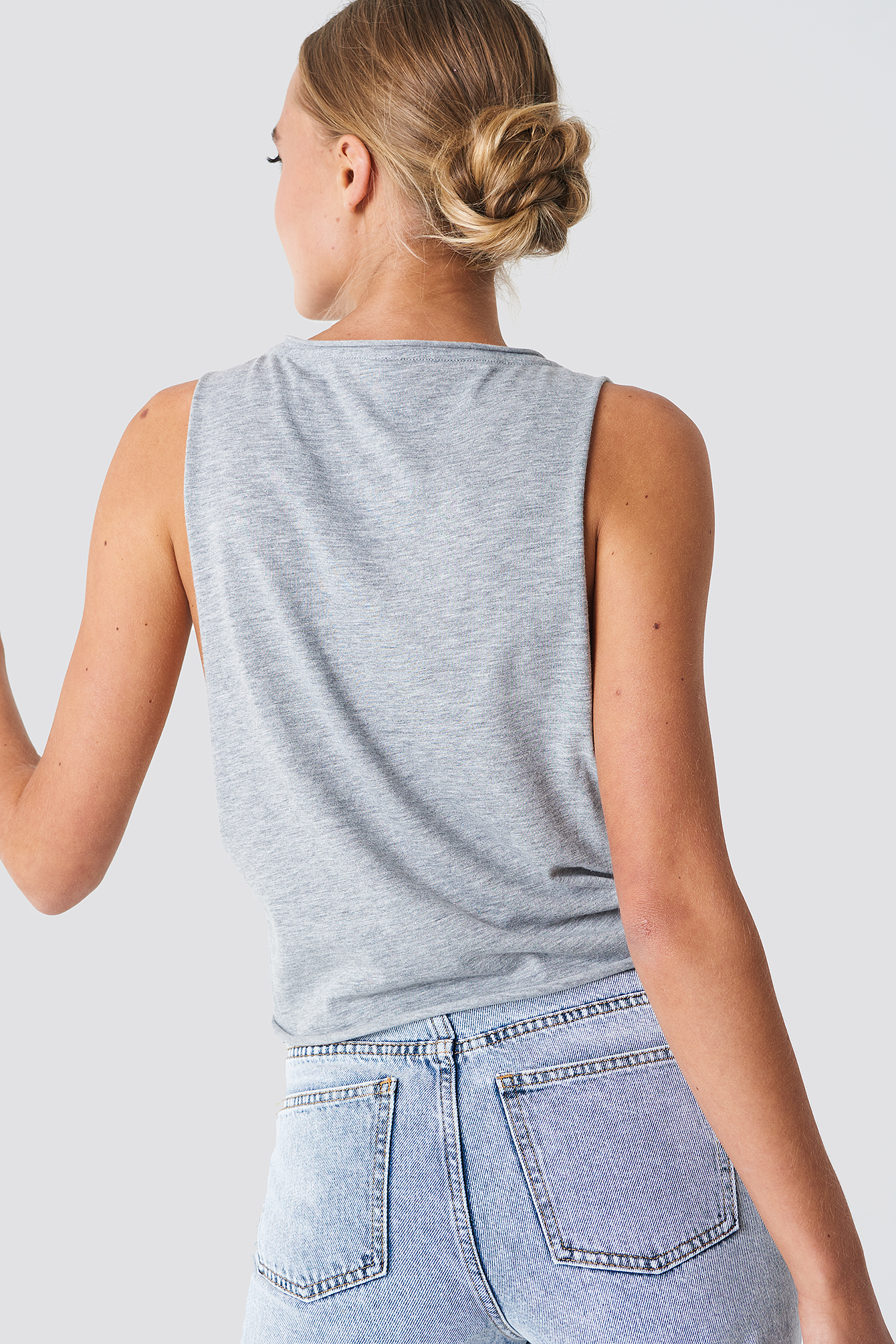 Grey Heather Side Knot Tank Top