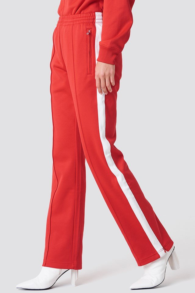 Taped Knit Straight Fit Track Pant Tomato