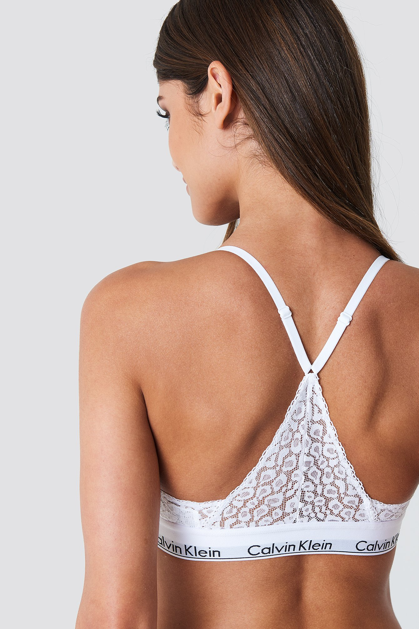 Calvin Klein Triangle Lace Bra - White