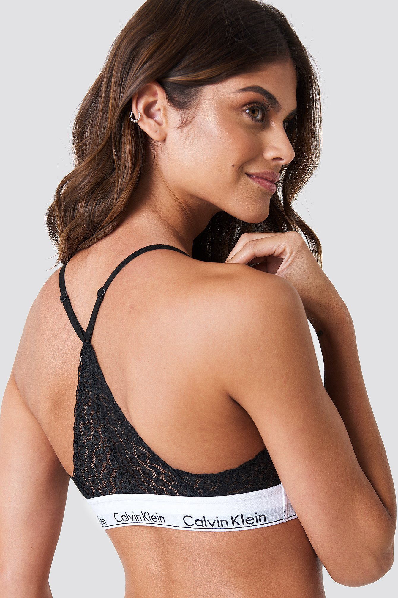 Calvin Klein Triangle Lace Bra - Black