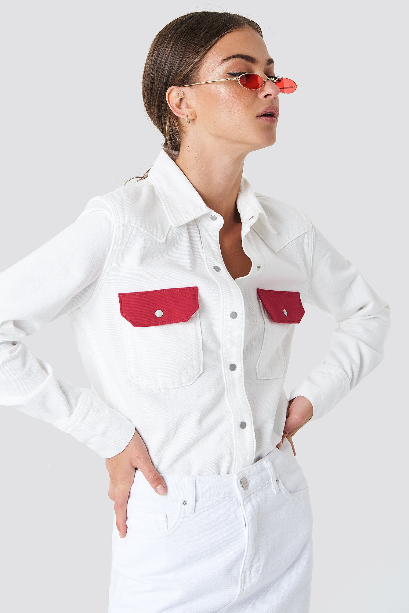 720ce331544 Western Lean Contrast Shirt Great White Tango Red
