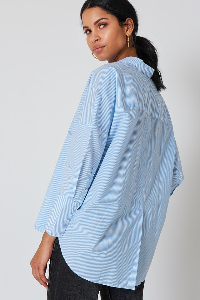 Wiva Oversized Shirt Bright White/Blue