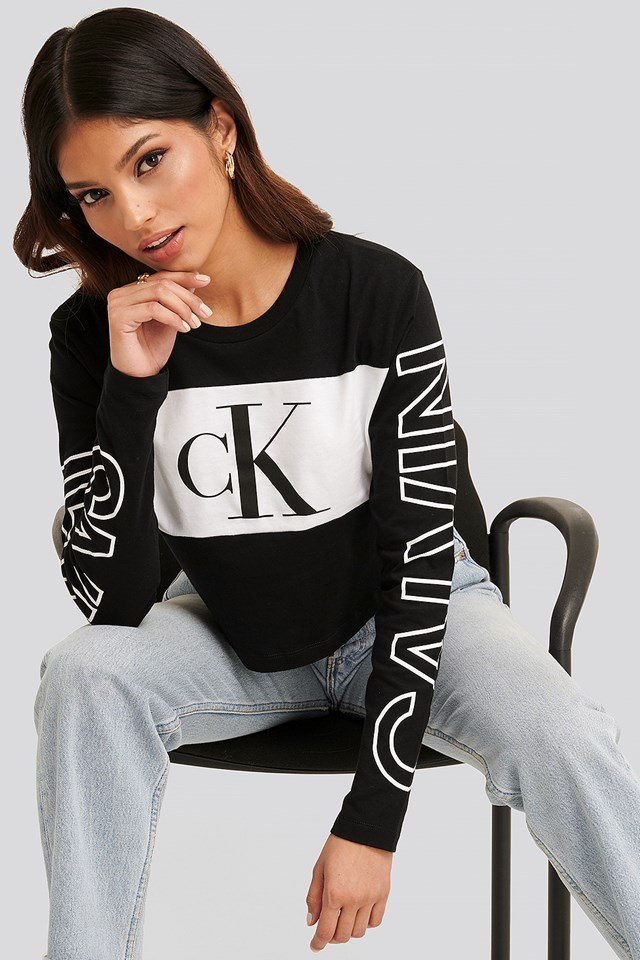 Blocking Statement Logo Ls Tee CK Black