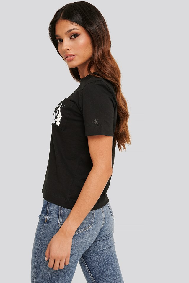 Mirrored Monogram Pocket Tee CK Black
