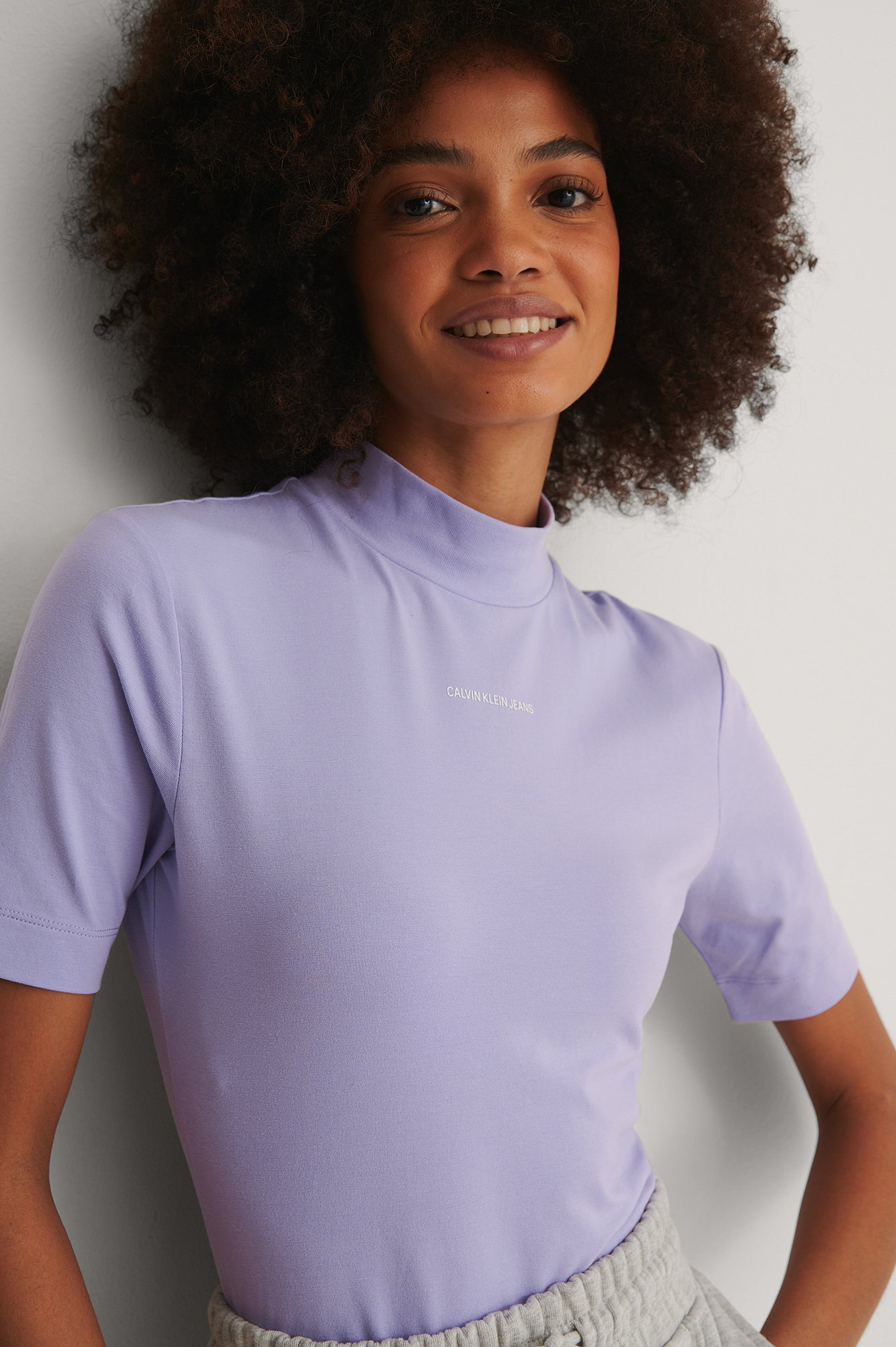 Purple Organic Micro Branding Stretch Mock Neck