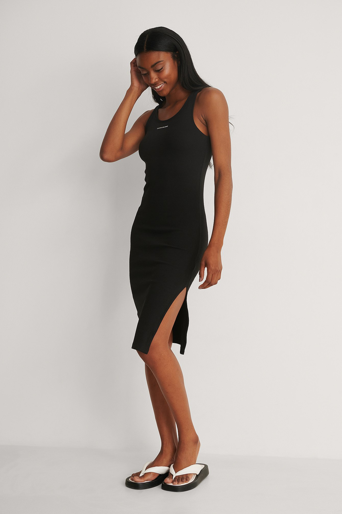 CK Black Micro Branding Strappy Rib Dress
