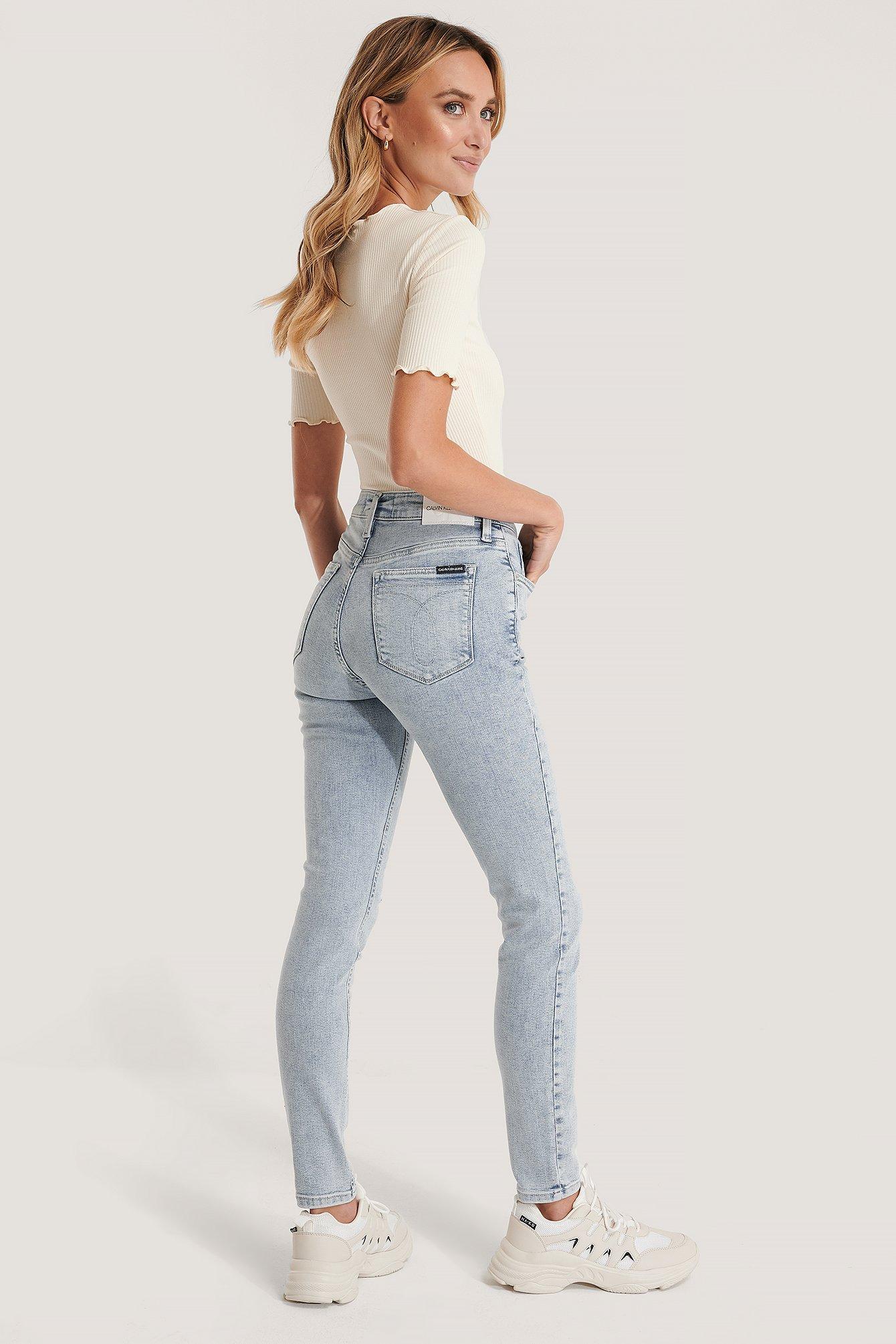 Calvin Klein Skinny Jeans Med Hög Midja - Blue