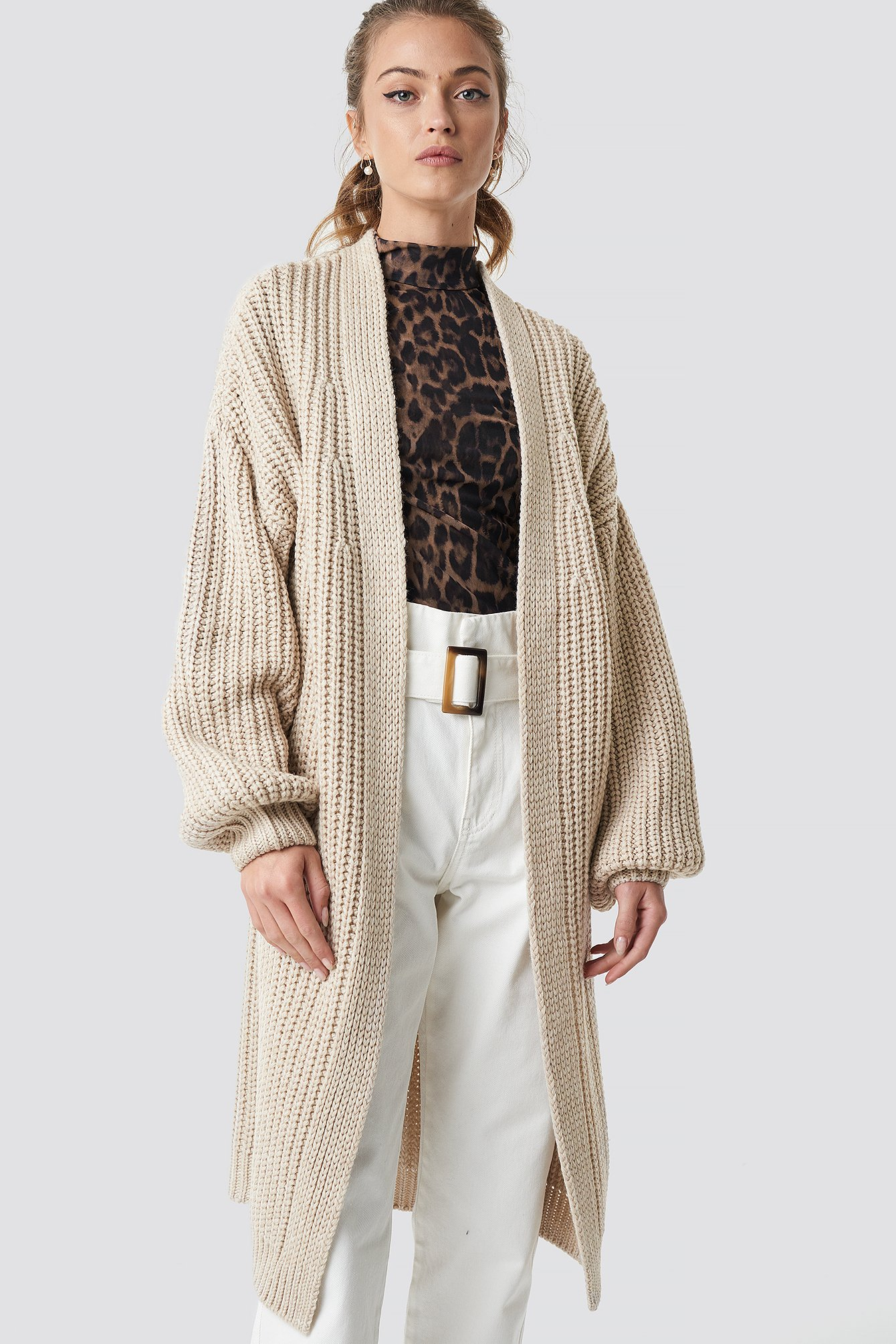 camille botten x na-kd -  Balloon Sleeve Chunky Cardigan - Beige