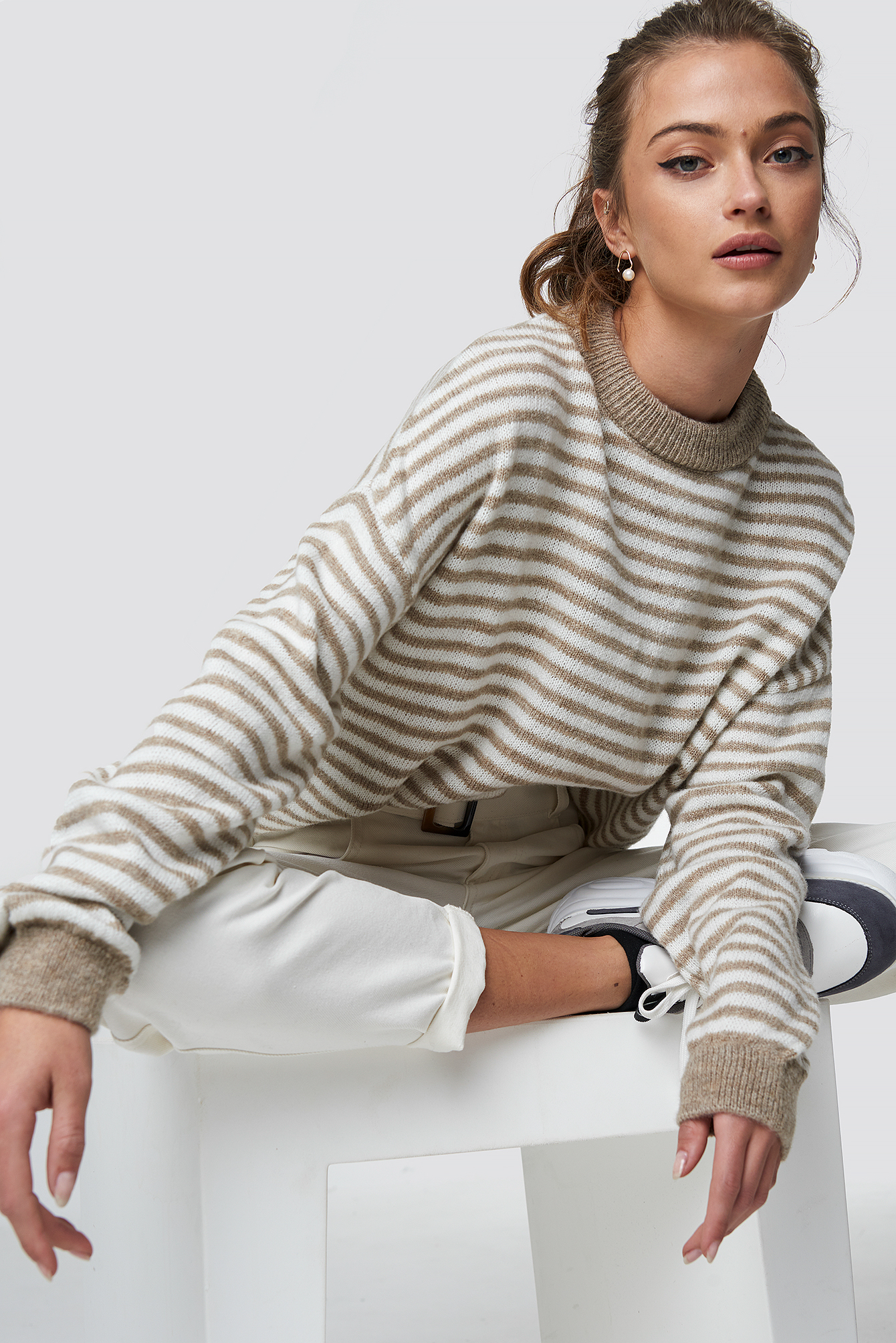 Balloon Sleeve Striped Sweater NA-KD.COM