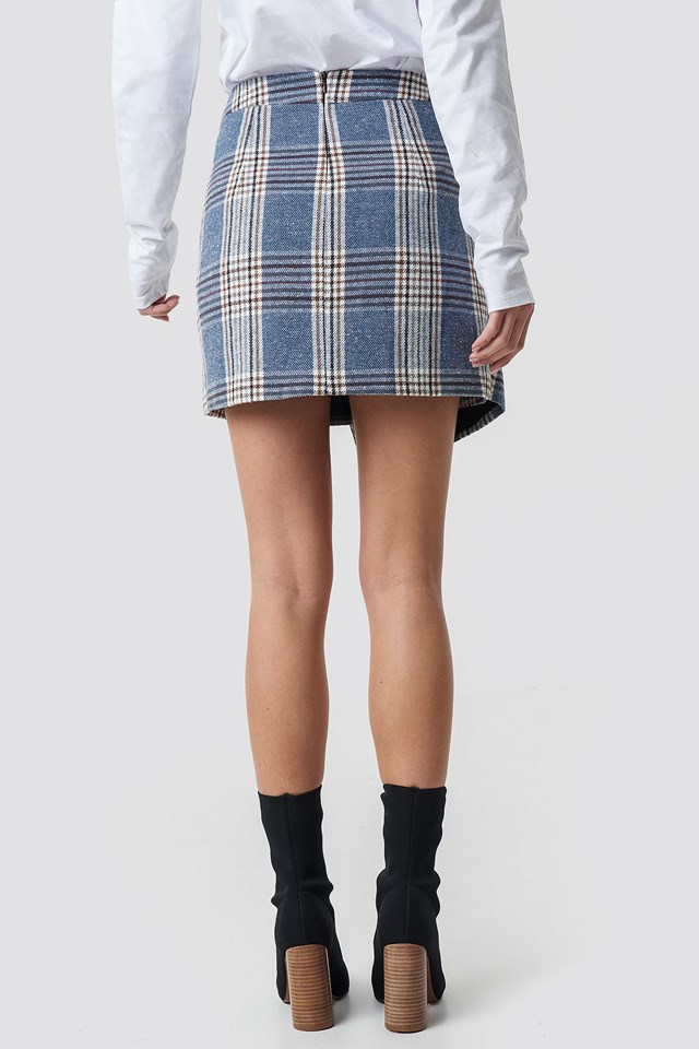 Checked Wrap Skirt Checked