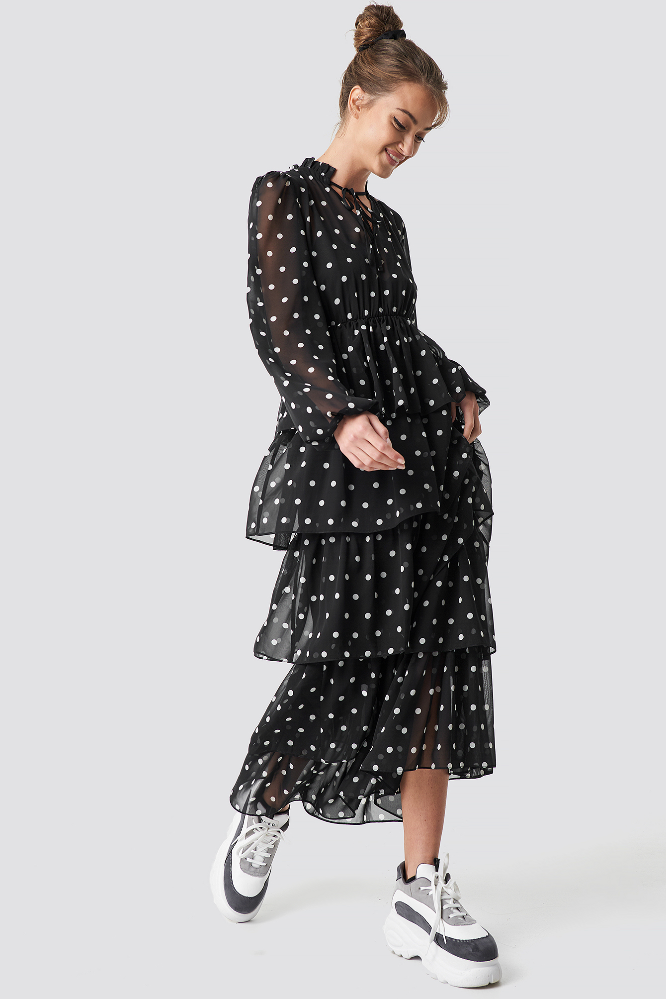 Dotted Frilled Maxi Dress NA-KD.COM