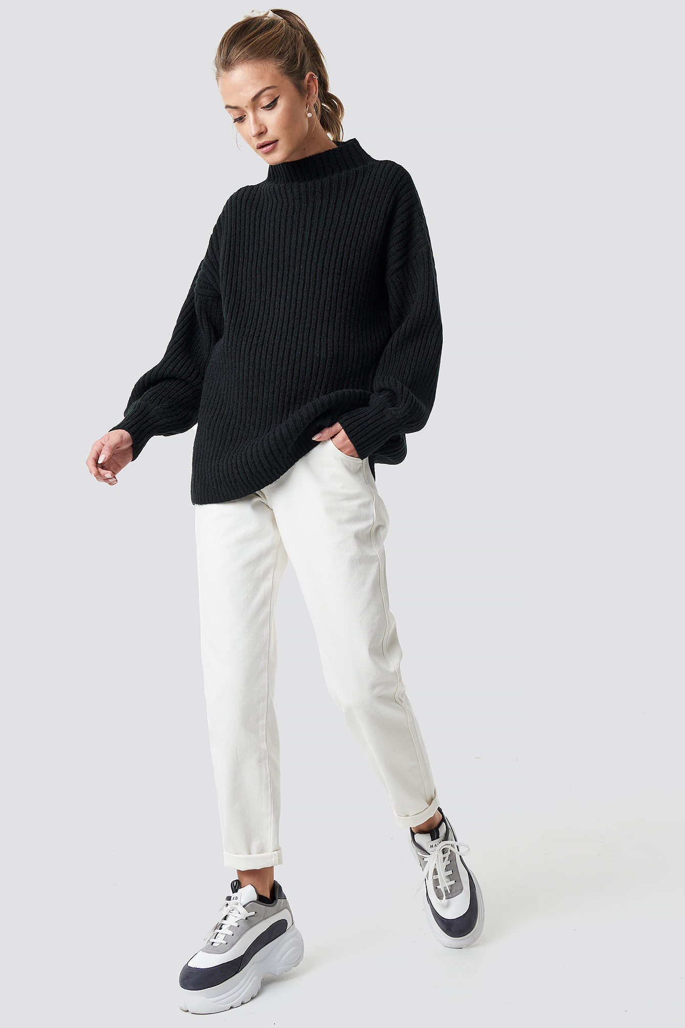 High Neck Oversize Sweater NA-KD.COM