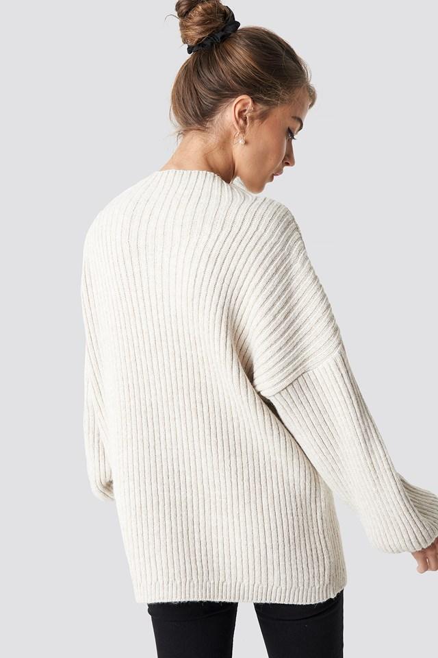 High Neck Oversize Sweater Beige