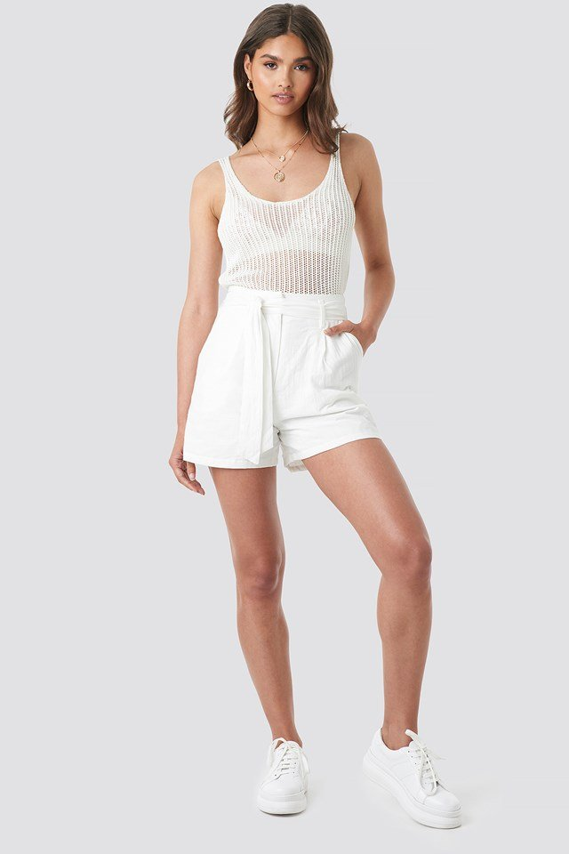 High Waist Relaxed Shorts Off White