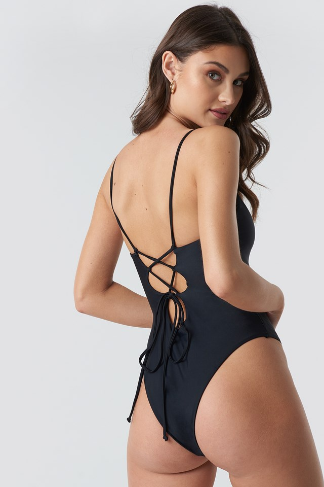 Lacing Open Back Swimsuit Black