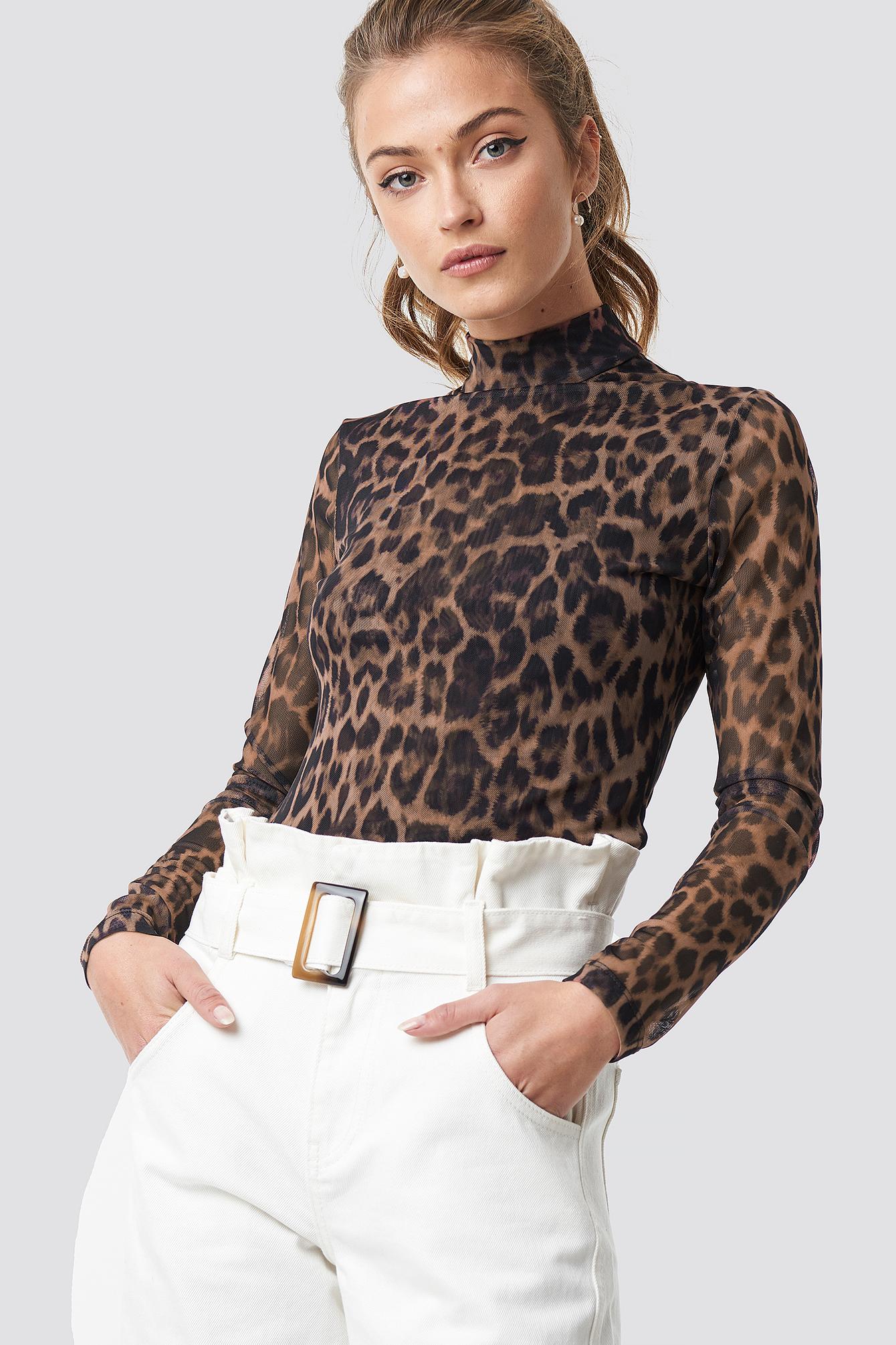 Leopard Mesh Long Sleeve NA-KD.COM