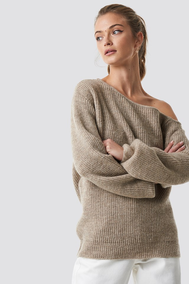 Off Shoulder Oversize Sweater Beige