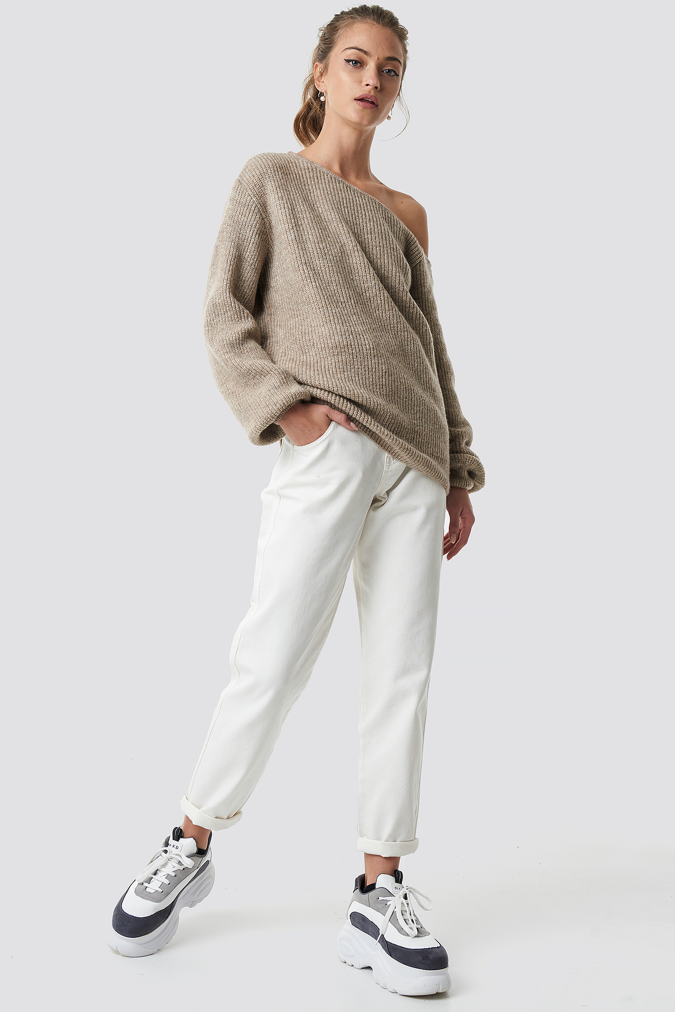 Off Shoulder Oversize Sweater NA-KD.COM